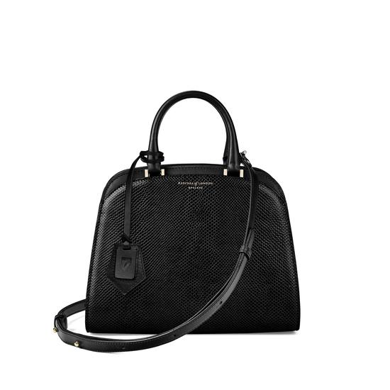 Mini Hepburn Bag in Jet Black Lizard from Aspinal of London