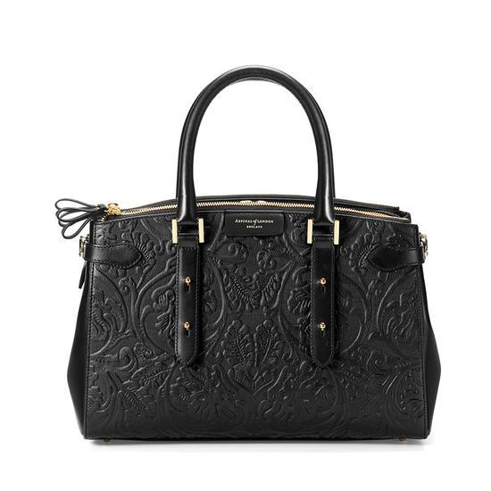 Brook Street Bag in Black Embossed Flower from Aspinal of London