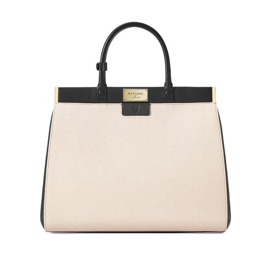 Large Florence Snap Bag in Monochrome Saffiano from Aspinal of London