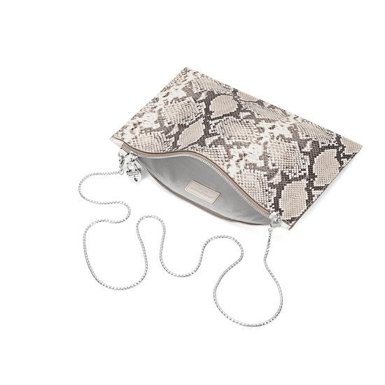 Soho Clutch in Smooth Ivory & Natural Python Print from Aspinal of London
