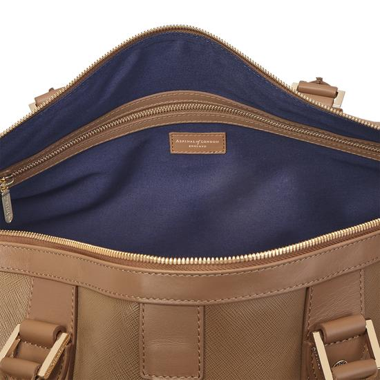 Boston Bag in Camel Saffiano from Aspinal of London