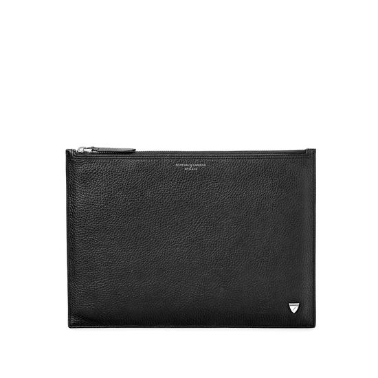 Mens Soho Clutch in Black Pebble from Aspinal of London