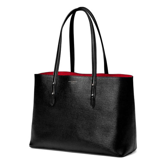 Regent Tote in Black Saffiano & Red Suede from Aspinal of London