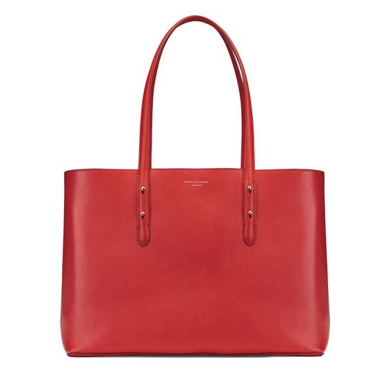 Regent Tote in Scarlet Saffiano from Aspinal of London