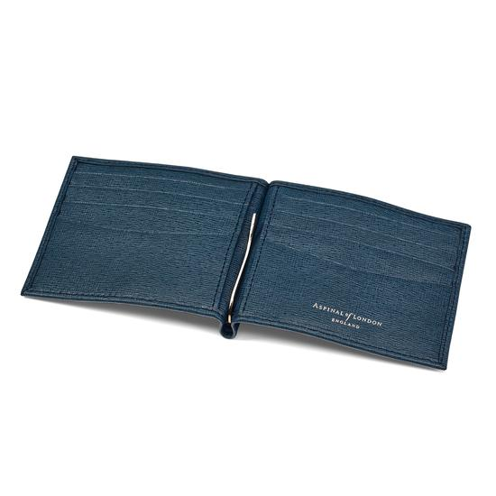 Money Clip Billfold Wallet in Teal Saffiano from Aspinal of London