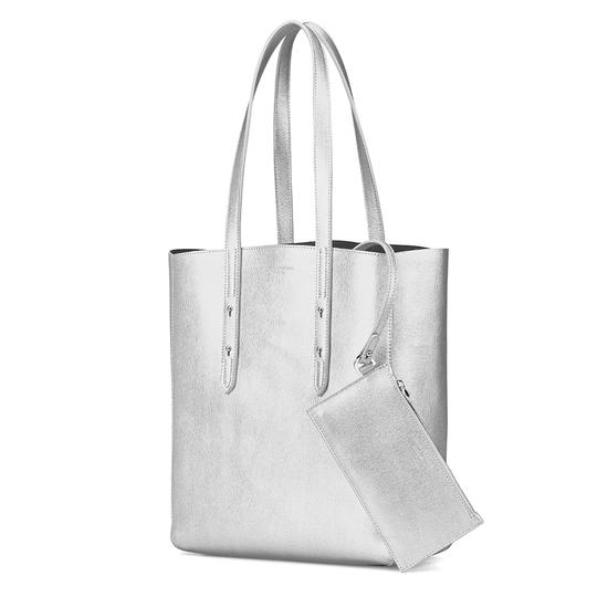 Essential Tote in Silver Saffiano & Navy Suede from Aspinal of London