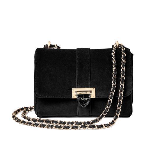 Small Lottie Bag in Black Velvet from Aspinal of London