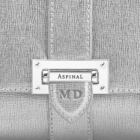 Small Lottie Bag in Silver Saffiano from Aspinal of London