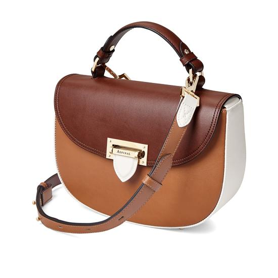 Letterbox Saddle Bag in Smooth Natural Tan, Redwood & Ivory from Aspinal of London