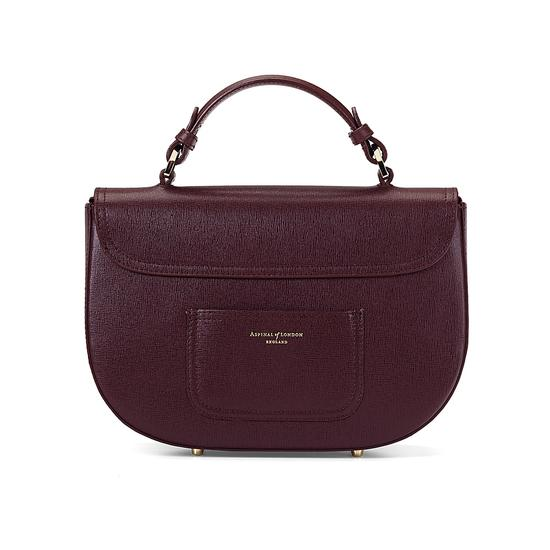 Letterbox Saddle Bag in Burgundy Saffiano from Aspinal of London