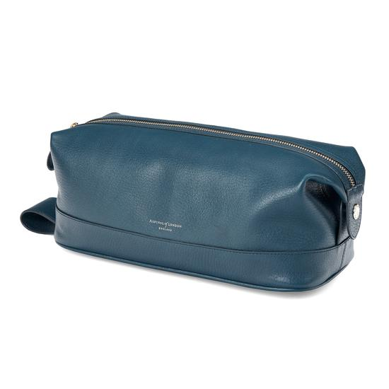 Men's Leather Wash Bag in Peacock Pebble from Aspinal of London