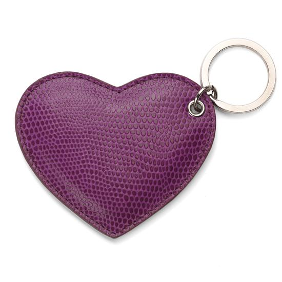 Heart Keyring in Purple Lizard from Aspinal of London