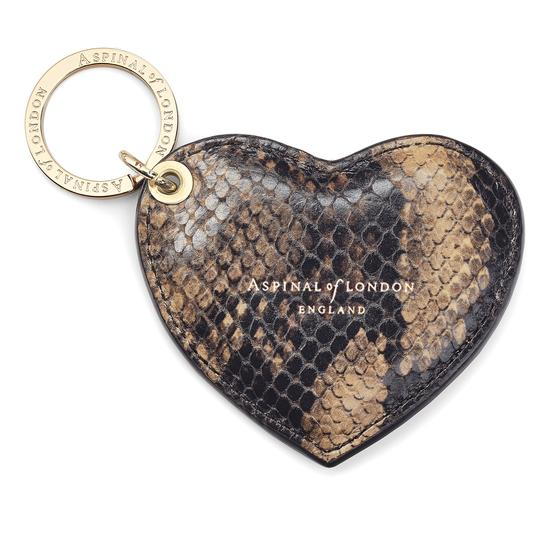 Heart Keyring in Tan Snake Print from Aspinal of London