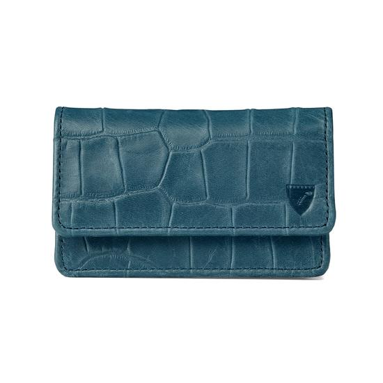 Business & Credit Card Case in Teal Nubuck Croc from Aspinal of London