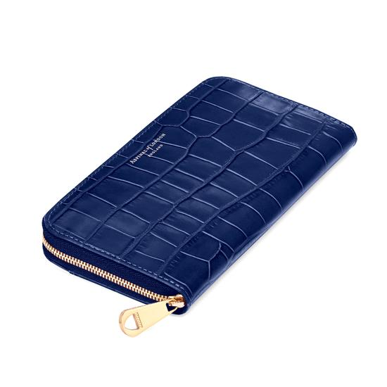 Continental Clutch Zip Wallet in Navy Croc from Aspinal of London