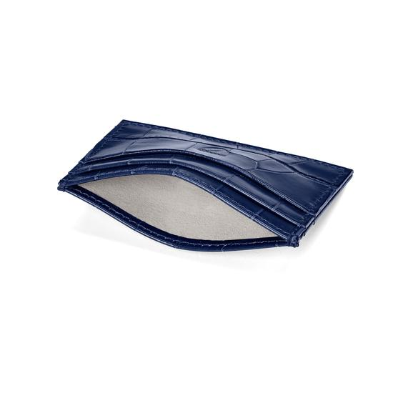 Slim Credit Card Case in Navy Croc from Aspinal of London