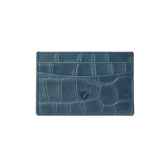 Slim Credit Card Case in Teal Nubuck Croc from Aspinal of London