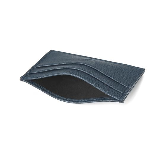 Slim Credit Card Case in Teal Saffiano & Black Suede from Aspinal of London