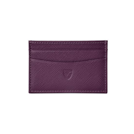 Slim Credit Card Case in Grape Saffiano & Cappuccino Suede from Aspinal of London