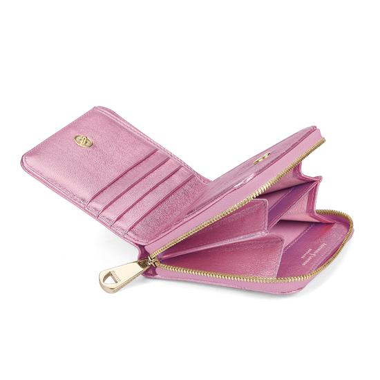 Mini Continental Zipped Coin Purse in Flamingo Pink Metallic from Aspinal of London