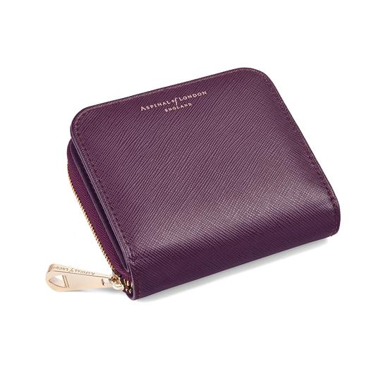 Mini Continental Zipped Coin Purse in Grape Saffiano from Aspinal of London