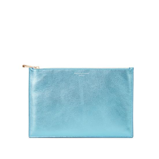 Large Essential Flat Pouch in Misty Blue Metallic from Aspinal of London