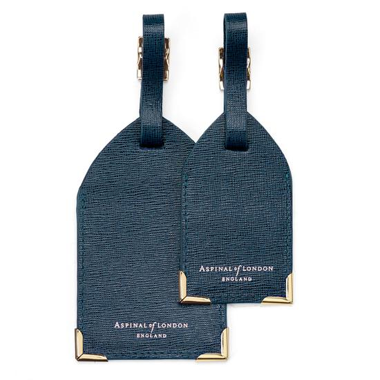 Set of 2 Luggage Tags in Teal Saffiano from Aspinal of London