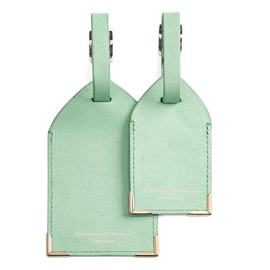 Set of 2 Luggage Tags in Peppermint Kaviar from Aspinal of London