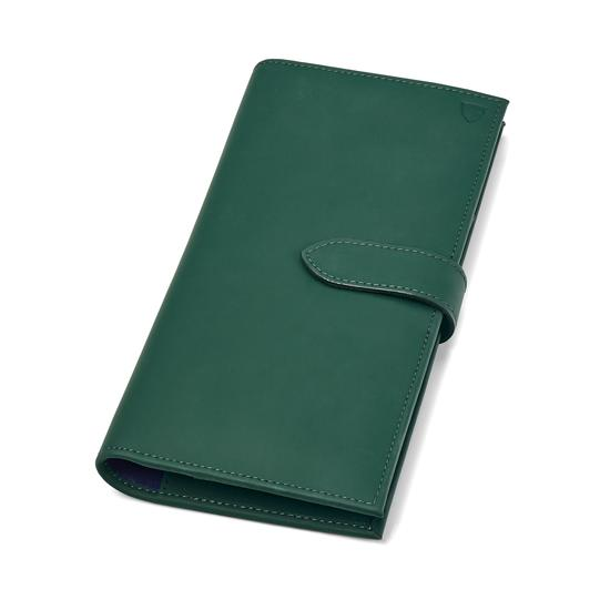 Lindberg Travel Wallet with Passport Cover in Smooth Green from Aspinal of London