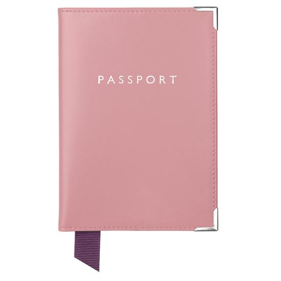 Passport Cover in Smooth Dusky Pink from Aspinal of London