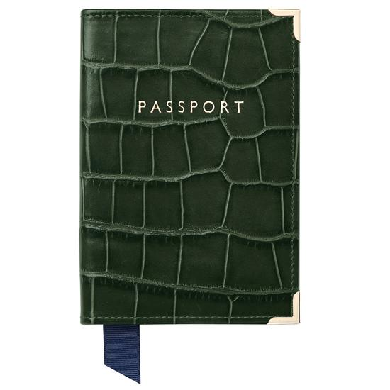 Passport Cover in Forest Green Croc from Aspinal of London