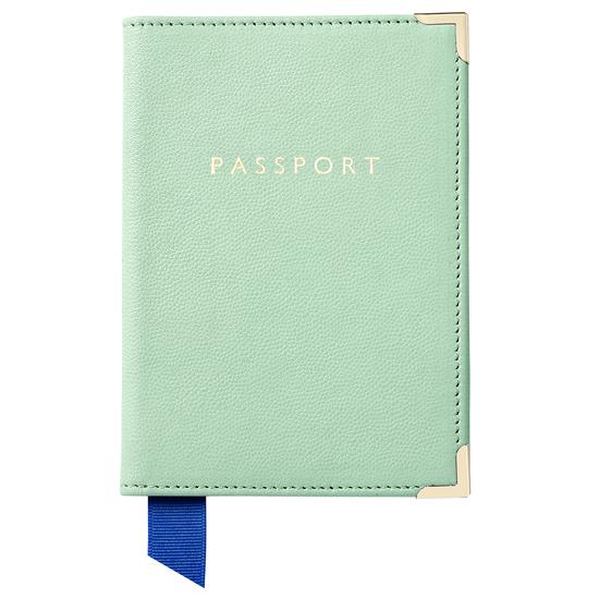 Passport Cover in Peppermint Kaviar from Aspinal of London