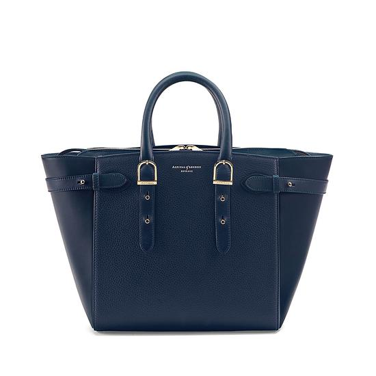 Midi Marylebone Tech Tote in Navy Pebble from Aspinal of London