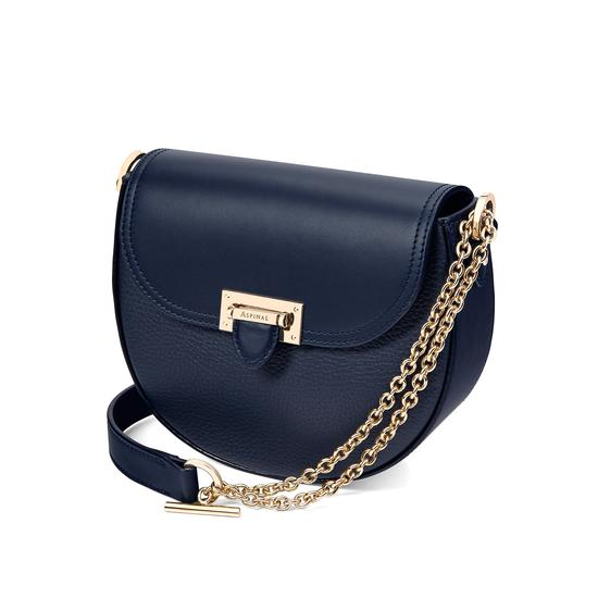 Portobello Bag with Chain in Navy Pebble from Aspinal of London