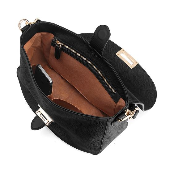 Slouchy Saddle Bag in Black Pebble from Aspinal of London