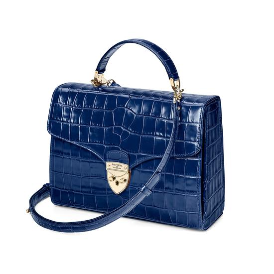 Mayfair Bag in Deep Shine Navy Croc from Aspinal of London