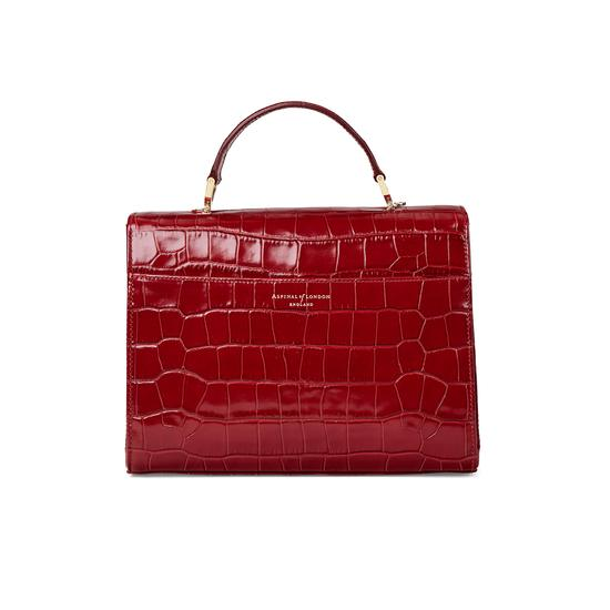 Mayfair Bag in Deep Shine Red Croc from Aspinal of London