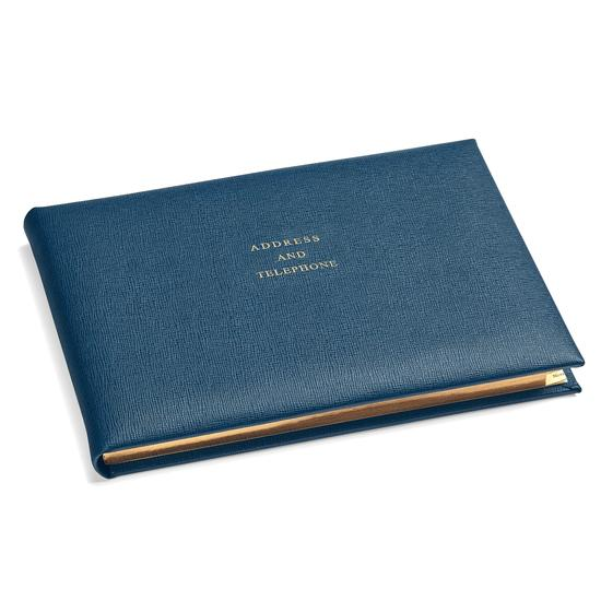 A5 Landscape Address Book in Teal Saffiano from Aspinal of London