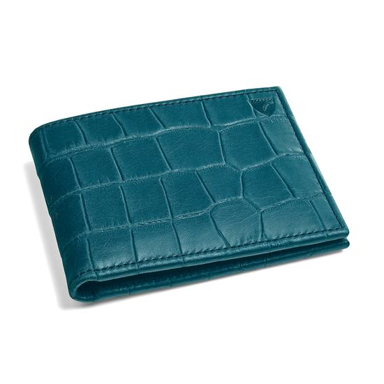 Billfold Wallet in Teal Nubuck Croc from Aspinal of London