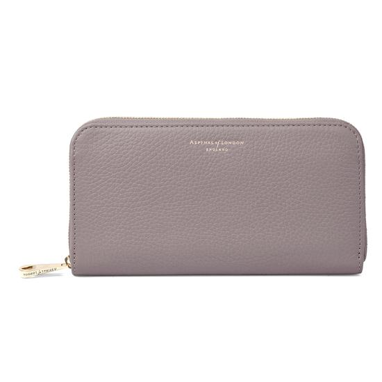 Continental Clutch Zip Wallet in Chanterelle Pebble from Aspinal of London