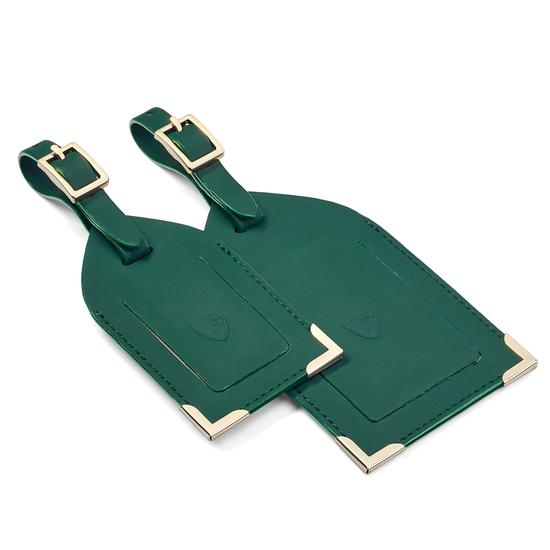 Set of 2 Luggage Tags in Smooth Green from Aspinal of London