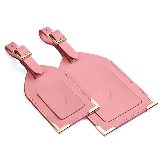 Set of 2 Luggage Tags in Smooth Dusky Pink from Aspinal of London