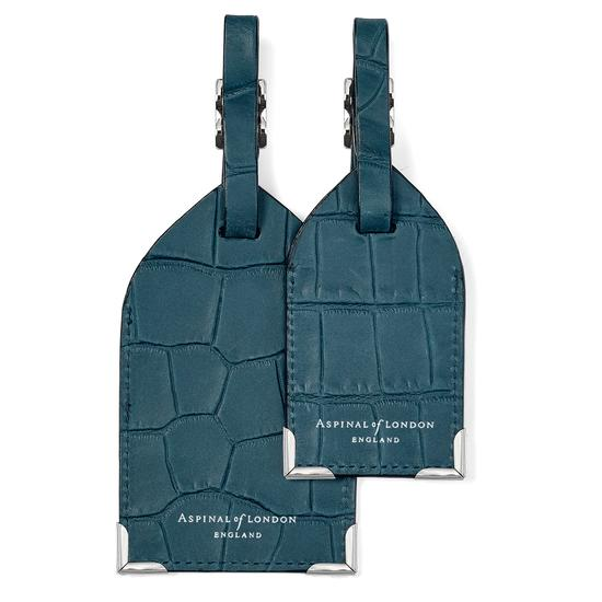 Set of 2 Luggage Tags in Teal Nubuck Croc from Aspinal of London