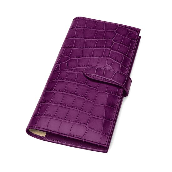 Lindberg Travel Wallet with Passport Cover in Purple Croc from Aspinal of London