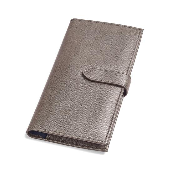 Lindberg Travel Wallet with Passport Cover in Gunmetal Saffiano from Aspinal of London