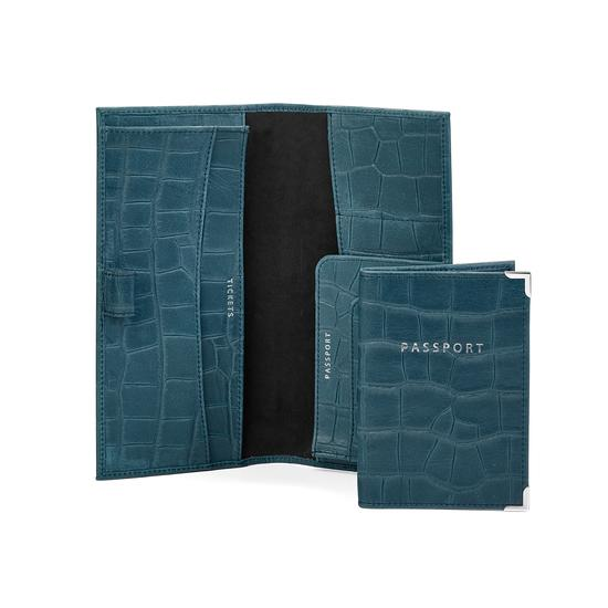 Lindberg Travel Wallet with Passport Cover in Teal Nubuck Croc from Aspinal of London