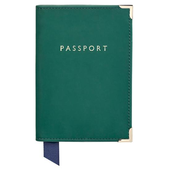 Passport Cover in Smooth Green from Aspinal of London
