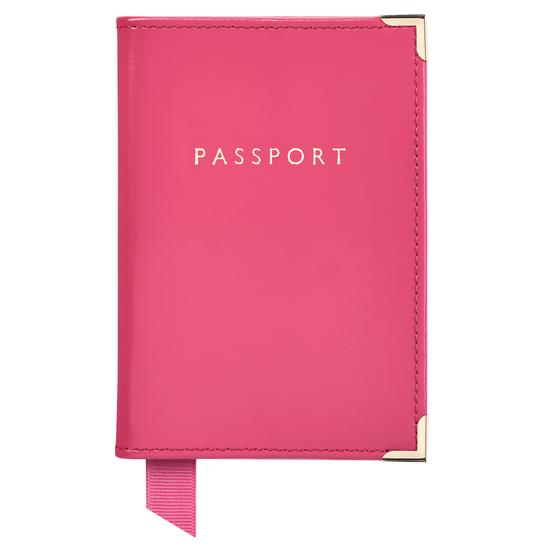 Passport Cover in Camelia Pink Polish from Aspinal of London