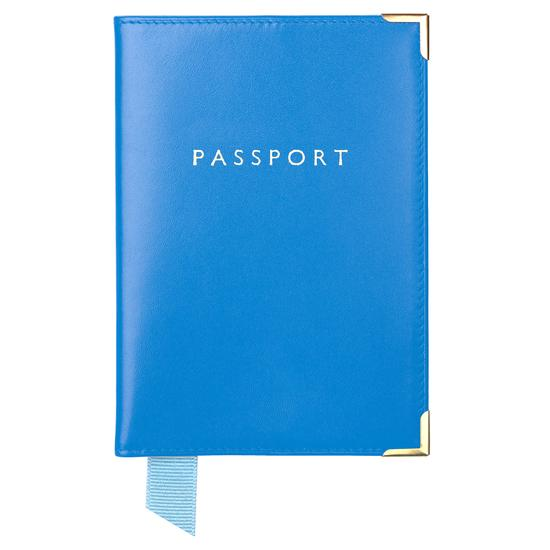Passport Cover in Smooth Forget Me Not from Aspinal of London