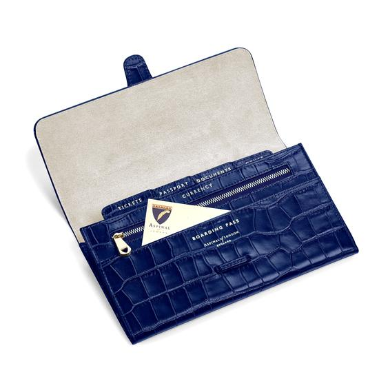 Classic Travel Wallet in Navy Croc from Aspinal of London